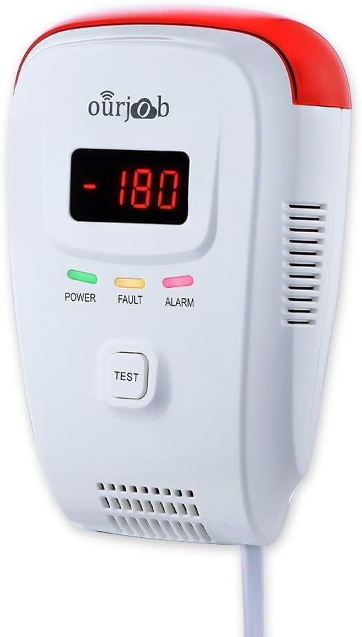 Detector de Gas, Alarma de Gas LPG/natural/ciudad, Enchufar en Sensor De Fugas De Gas Combustible/Propano/Metano, con Alarma de Luz Estroboscópica y Voz Humana, Pantalla Digital(Batería no Incluida)