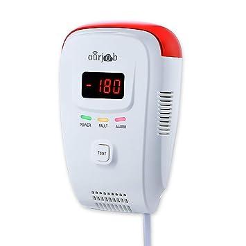 Detector de Gas, Alarma de Gas LPG/natural/ciudad, Enchufar en Sensor De Fugas De Gas Combustible/Propano/Metano, con Alarma de Luz Estroboscópica y ...