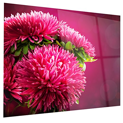 Pink Flowers of Asters on Flowers Glossy Metal Wall Art