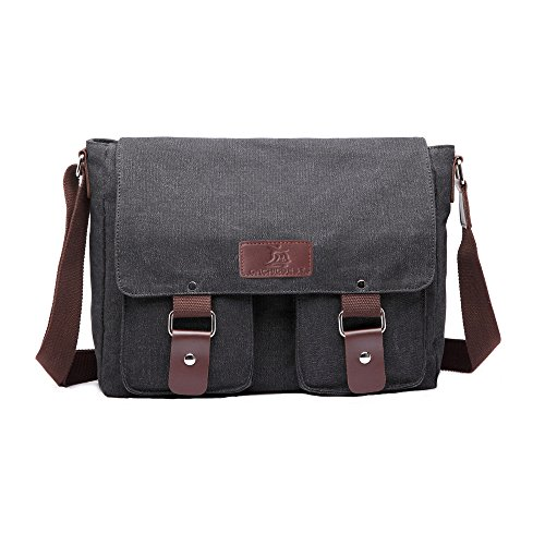 OrchidBest Canvas Traveling Satchel Multi-functional Durable Messenger Bag Stylish Crossbody Shoulder Bag for Work/School/Trips (Black)