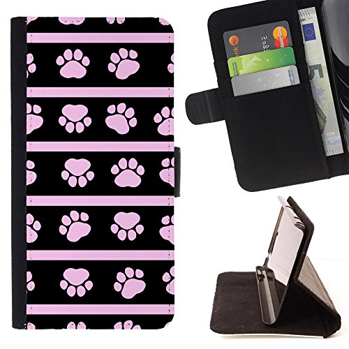 Wallet Paw Prints (FJCases Paws Print Animal Slim Wallet Card Holder Flip Leather Case Cover for Samsung Galaxy S9)