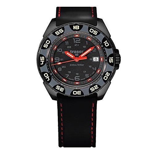 traser P49 Red Alert T100 Tactical Self-Illumination Swiss Men's Watch Rubber Strap 106470