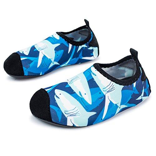 L-RUN Kids Water Shoes Boys Girls Swim Shoes Barefoot Aqua Sock Shark 9.5-10=EU26-27 ()