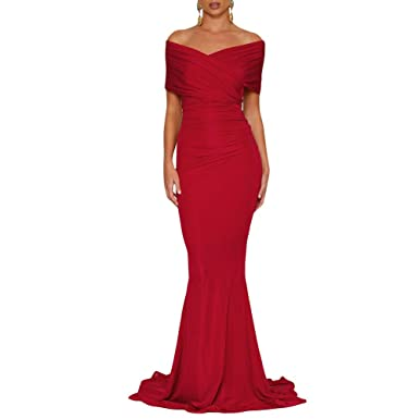c35849f5fb4a Queen Area Womens Sexy Red Off The Shoulder Mermaid Wedding Evening Party  Gown (US 4