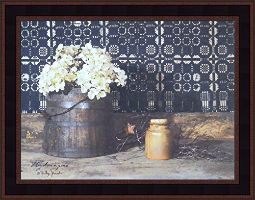 Jacobs 15x19 Flowers Quilt Bucket Crock Jug Still Life Country Primitive Folk Art Print Framed Picture ()