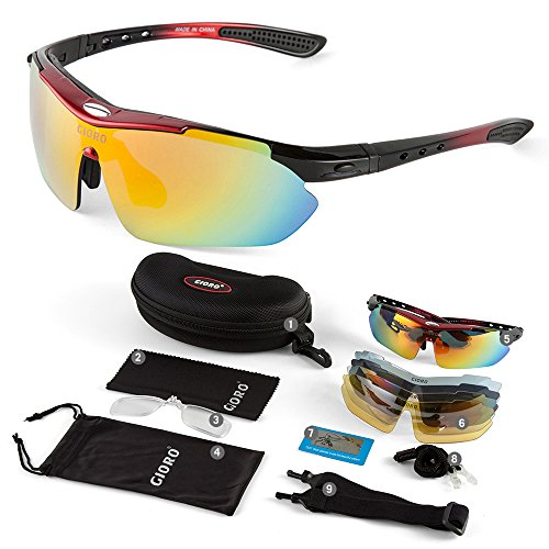 GIORO Polarized Sports Sunglasses with 5 Interchangeable Lenses for Cycling Fishing Driving(Red)