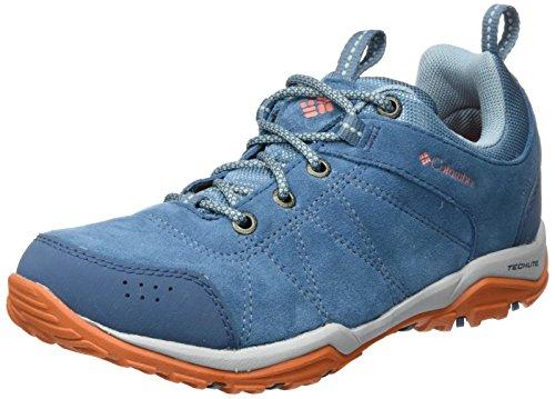 Columbia Women's Fire Venture Low Waterproof Hiking Shoe Blue (Blue Heron, Bright Peach)