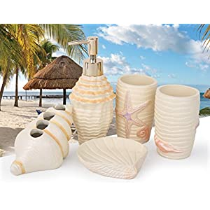 51bUgEAjzjL._SS300_ 70+ Beach Bathroom Accessory Sets and Coastal Bathroom Accessories 2020
