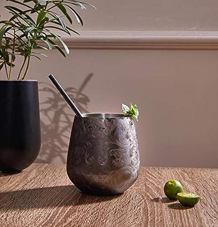 SKYFISH copas de vino de acero inoxidable sin tallo - Juego de 4 vasos de acero inoxidable grabados