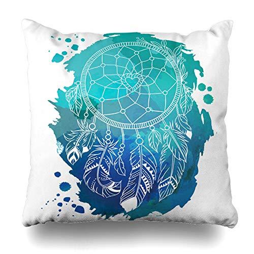 DaniulloRU Throw Pillow Covers Bird American Dream Catcher Abstract Aztec Vintage Bohemian Boho Design Retro Home Decor Sofa Cushion Case Square Size 16 x 16 Inches Pillowcase