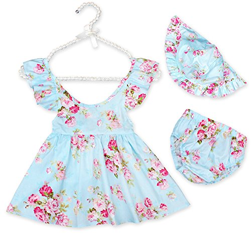 Luckikikids Baby Girl Clothes Set Summer Floral Outfits Toddler Sleeveless Ruffle Dresses + Shorts+Hat 3 Pcs/Pack 6M-4Yrs (Blue 2, -