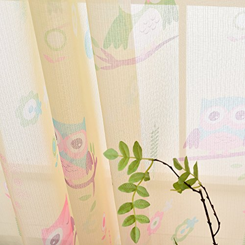 melodieux cartoon owl sheer rod pocket voile curtains Window Coverings Drapes for Living Room