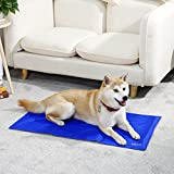 Ohana Pet Cooling Gel Mat 35.4 x 19.7 inch,Dog Cat Sleeping at Summer Bed Car Seat Self Cooling Pad Cold Pressure Activated Blue L