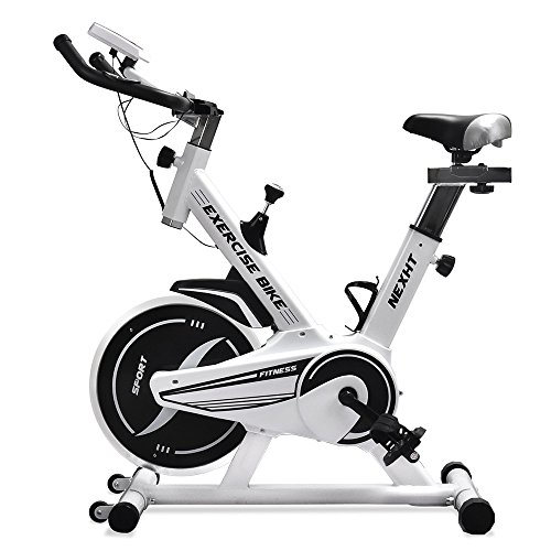 Bicycle Monitor (NexHT Fitness Exercise Cycle Bike (89104A) Indoor Workout Cycling Bike w/LCD Monitor& Heart Pulse Sensors,Max User Weight:280lbs,Full Adjustable Health Sport Trainer Stationary Bicycle -White)