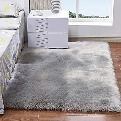 Amazon.com: Alfombra suave de piel de oveja artificial ...