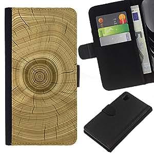 Árbol Core Anillos Historia de Brown- la tarjeta de Crédito Slots PU Funda de cuero Monedero caso cubierta de piel Para Sony Xperia Z1 L39