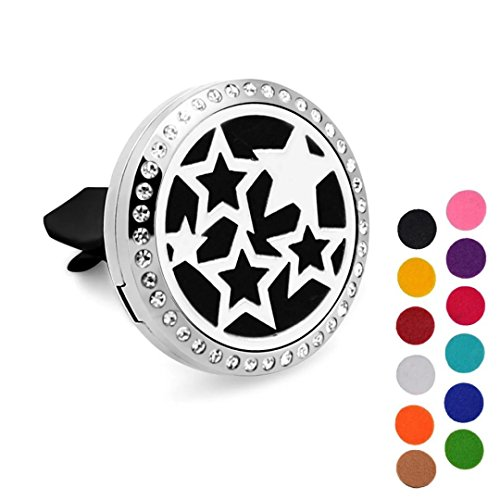 DIB Car Aromatherapy Essential Oil Diffuser Air Freshener, Rhinestones Sky Stars Stainless Steel 30mm Locket,12 Refill Pads