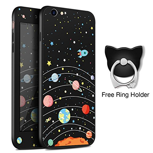 Blue Solar System iPhone 8 PLUS SIZED Case BIGGER SCREEN, Black Outer Space iPhone 7 PLUS Cover Cartoon Galaxy Themed Planet Rocket Star 360 Full Cover Case With Screen Protector Finger Ring, Silicone
