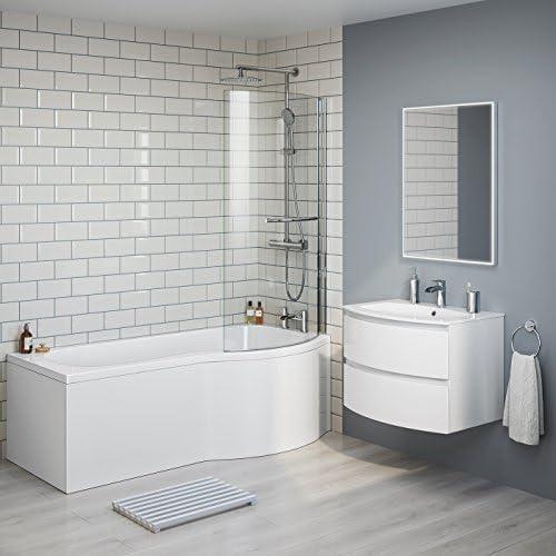 1700 mm derecha de lujo P-en la bañera con mampara de ducha Panel ...