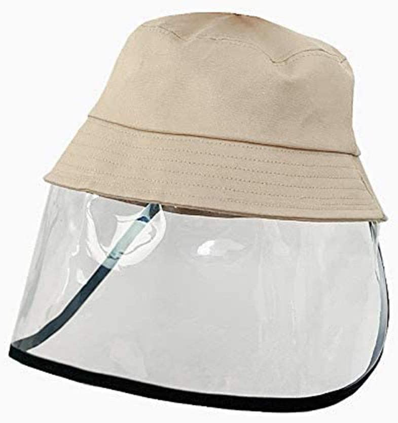 ZALIANG Sombrero De Cubo para Niños, Algodón con Visera Transparente Cubierta De Cara Reutilizable Cubierta De Cara Completa Sombrero No Extraíble Cubierta Sombrero De Pescador,Flesh