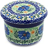 Polish Pottery 4¼-inch Butter Dish made by Ceramika Artystyczna (Electric Peony Theme) Signature UNIKAT + Certificate of Authenticity