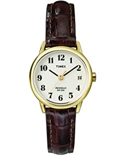 e5bb0480791c Timex Women s Indiglo Easy Reader Quartz Analog Leather Strap Watch with  Date Feature