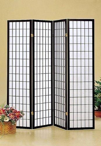 - Japan Oriental Square Style - 4 Panel Black Shoji Screen/room Divider
