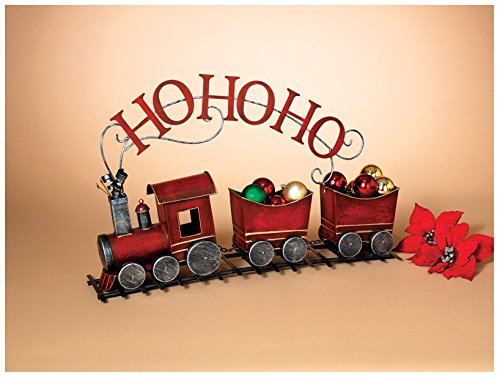 28'' Antique Look Red Metal Ho Ho Ho Holiday Tree Train Decoration by Gerson