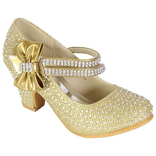 MyShoeStore - Zapatos de boda para niña, con diamantes de imitación, estilo Mary Jane, de tacón bajo Gold / Bow