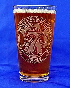 Custom Etched Navy Mobile Construction Battalion 7 Emblem on 16 Oz Pint Glasses Set of 4 by PG SEEDS