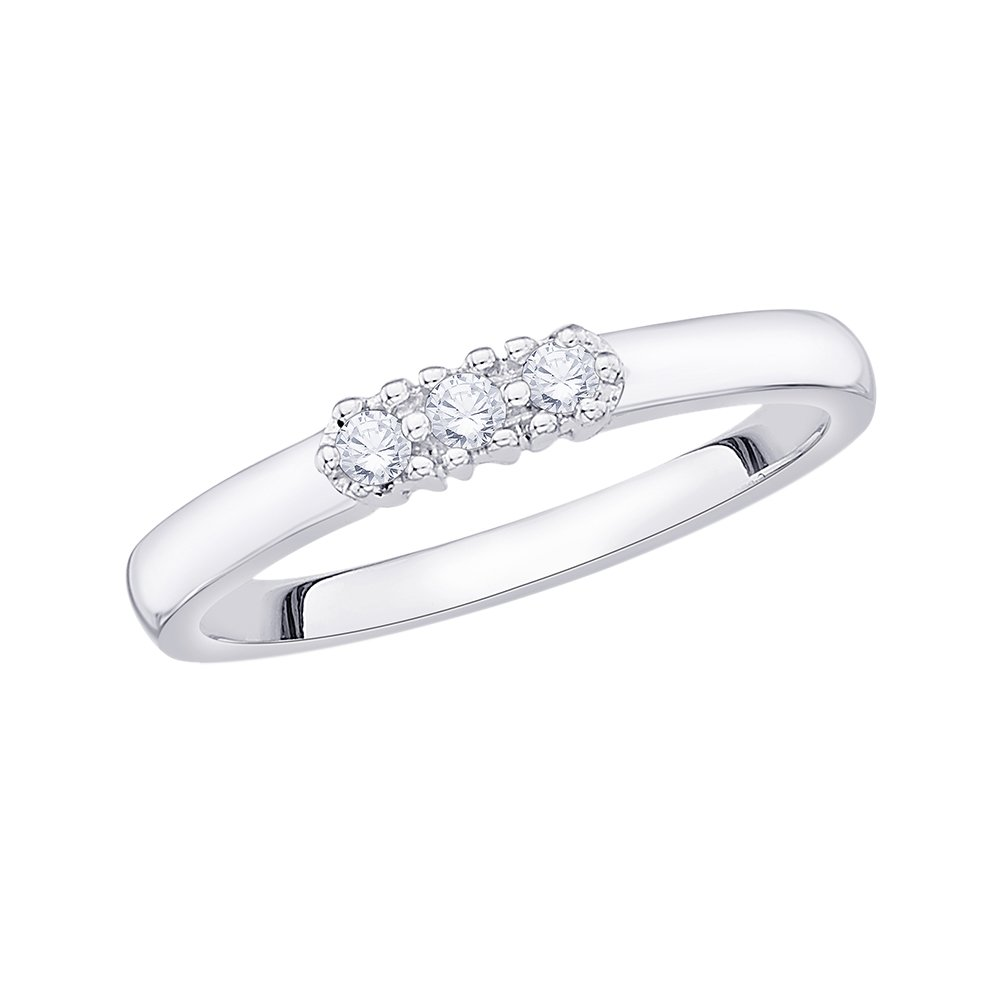 G-H,I2-I3 1//10 cttw, Size-10 3 Diamond Wedding Band in Sterling Silver