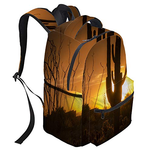 Unisex Durable School Backpack- Cactus Sunset Western No Man's Land Lightweight Oxford Fabric School Bags with Reflective Strip Daypack Laptop Bags