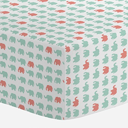 Carousel Designs Mint and Light Coral Elephant Parade Crib Sheet - Organic 100% Cotton Fitted Crib Sheet - Made in the USA