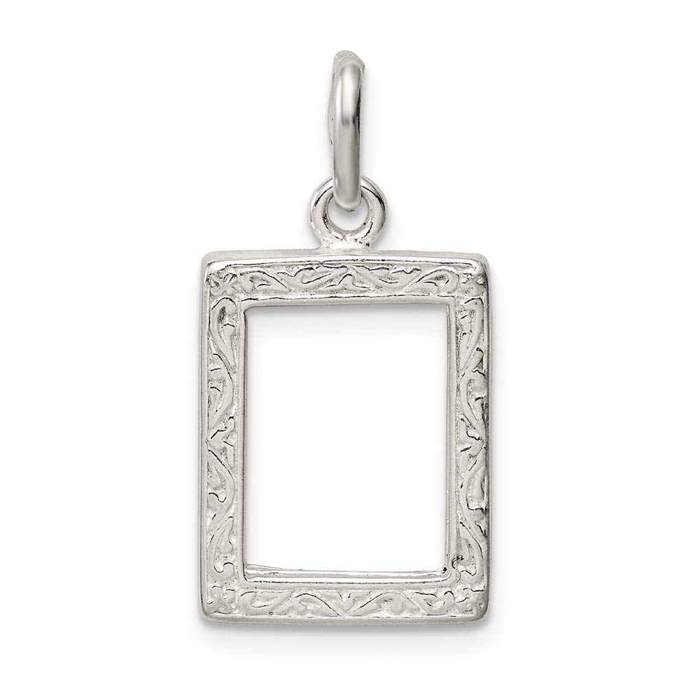 Solid 925 Sterling Silver Pendant Picture Frame Charm (23mm x 14mm)