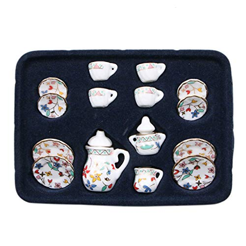 JETEHO Set of 15 Dollhouse Kitchen Accessories - 1/12 Dollhouse Miniature Ware Porcelain Tea Set - Dish Cup Plate Gold Leaf Print Decoration Classic Furniture Toy for Children Kids