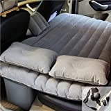 goldhik Car Travel Inflatable Mattress Flocking Air Bed Cushion Camping Universal SUV Back Seat Extended Air Couch with Two Air Pillows (Grey)