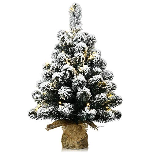 Goplus Snow Flocked Tabletop Christmas Tree, Battery Operated LED Lights