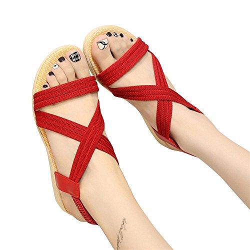 Sandalias, FAMILIZO Mujer Zapatos Planos Vendaje Bohemia Ocio Sandalias De SeñOra Peep-Toe Zapatos Al Aire Libre Rojo