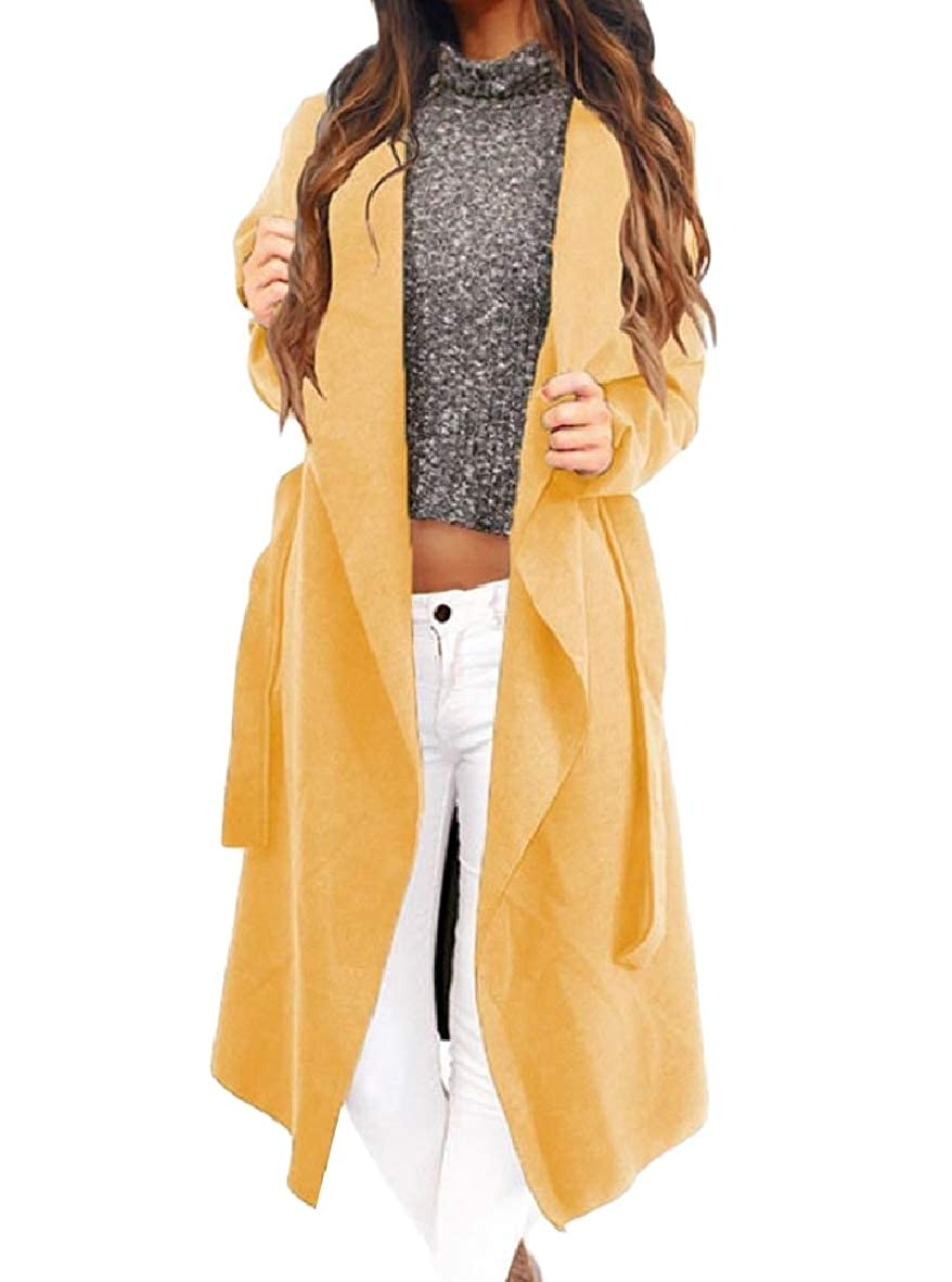 a0f5958b00591 Vinyst Women Fold-Collar Cardigan Woolen Trench Belted Relaxed Coat ...