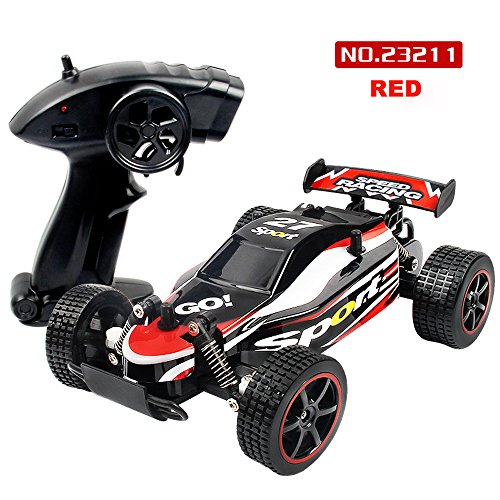 DICPOLIA 1:20 2.4GHZ 2WD Radio Remote Control Off Road RC RTR Racing Car Truck,Car Toys for Kids Toddlers Baby Boys Girls Adults Seat Model Toys Steering Wheel Car Toy Track (Red) by DICPOLIA (Image #3)