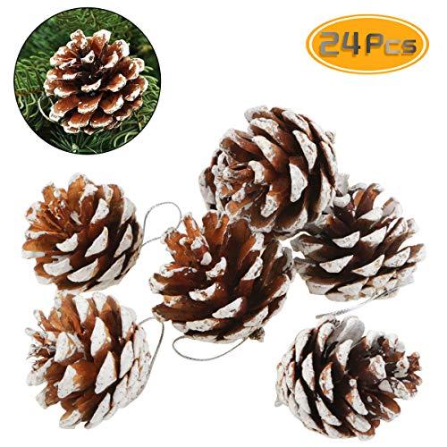 Pine Cone Christmas Tree Ornaments (BeautyMood 24 pcs Natural Pine Cone Christmas Pine Cone Ornaments Christmas Tree Decorations -)