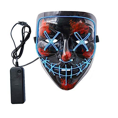 SURPCOS Halloween Mask LED Light up Purge Mask for Festival Cosplay Halloween Costume -
