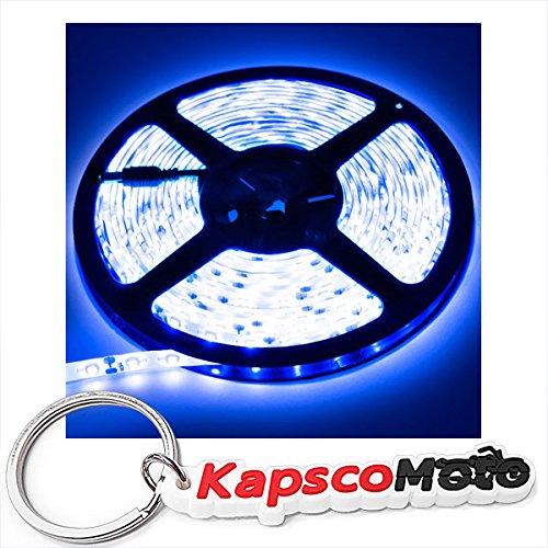 Biltek 16.4' Feet Blue 300 LEDs Light Remote Control Dimmer Kit SMD3528 110V Plug LED Strip Lighting Reading Lamp Bulb Accent Lights Waterproof 3528 SMD Flexible DIY 220V + KapscoMoto Keychain