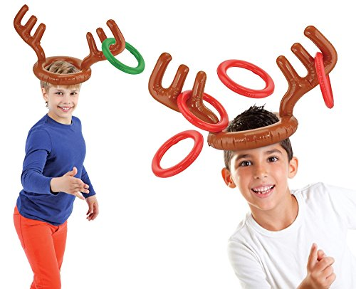 Kovot Two-Player Inflatable Reindeer Ring Toss Game - Game Rules Included (2 Antlers 8 -