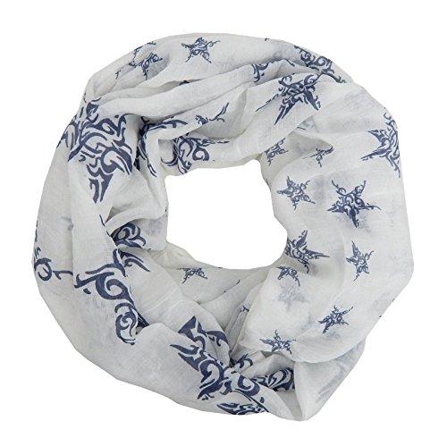 Foulard Écharpe Femme tendance avec étoile by Ella Jonte blanc bleu léger foulard d'ete coton loop tube snood