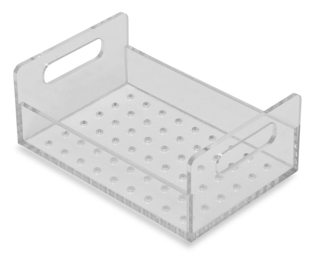TrippNT 51412 Perforated Tray for Small Portable Personal Desiccator, 8'' x 5'' x 3'', Clear