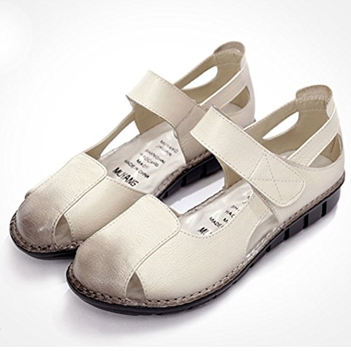 Mordenmiss Femmes Nouveau Peep Toe Velcro Multi Couleur Plat Sandales Style 2 Gris