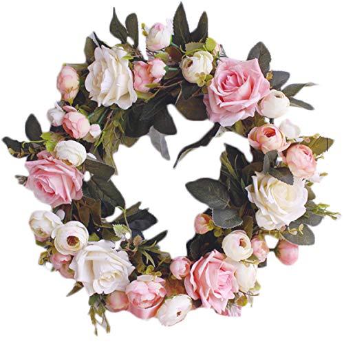 (Pauwer Artificial Pink Rose Flower Wreath for Front Door - 13