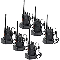 Walkie Talkies, Sunreal Long Range Two Way Radio Rechargeable 16CH Single Band with Original Earpiece for Hiking/Travelling Communication(Pack of 6)