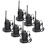 Sunreal Walkie Talkies Long Range Rechargeable Two Way Radio UHF 400-470Mhz LED Light Adults Hiking Communication(Pack of 6)